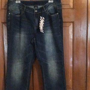 NWT, very cute & comfy stretch jeans, rhinestone